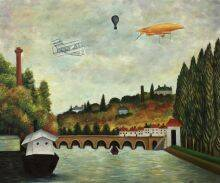 View of the Bridge in Sevres and the Hills of Clamart, Saint-Cloud and Bellevue with biplane, balloon and dirigible