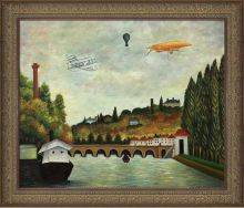 View of the Bridge in Sevres and the Hills of Clamart, Saint-Cloud and Bellevue with biplane, balloon and dirigible Pre-Framed