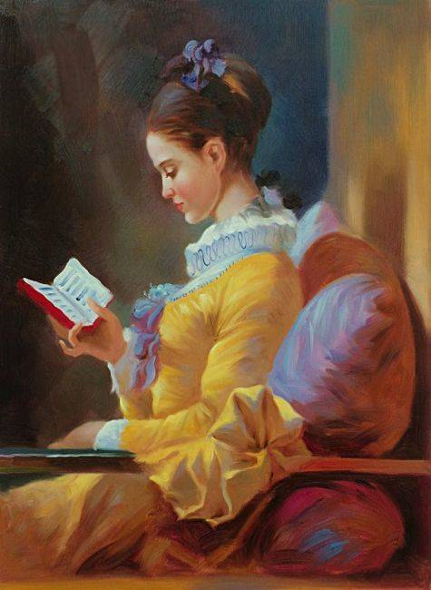 Jean-Honor Fragonard, The Reader - Oil Painting-8152