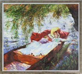 Two Women Asleep in a Punt under the Willows Pre-Framed