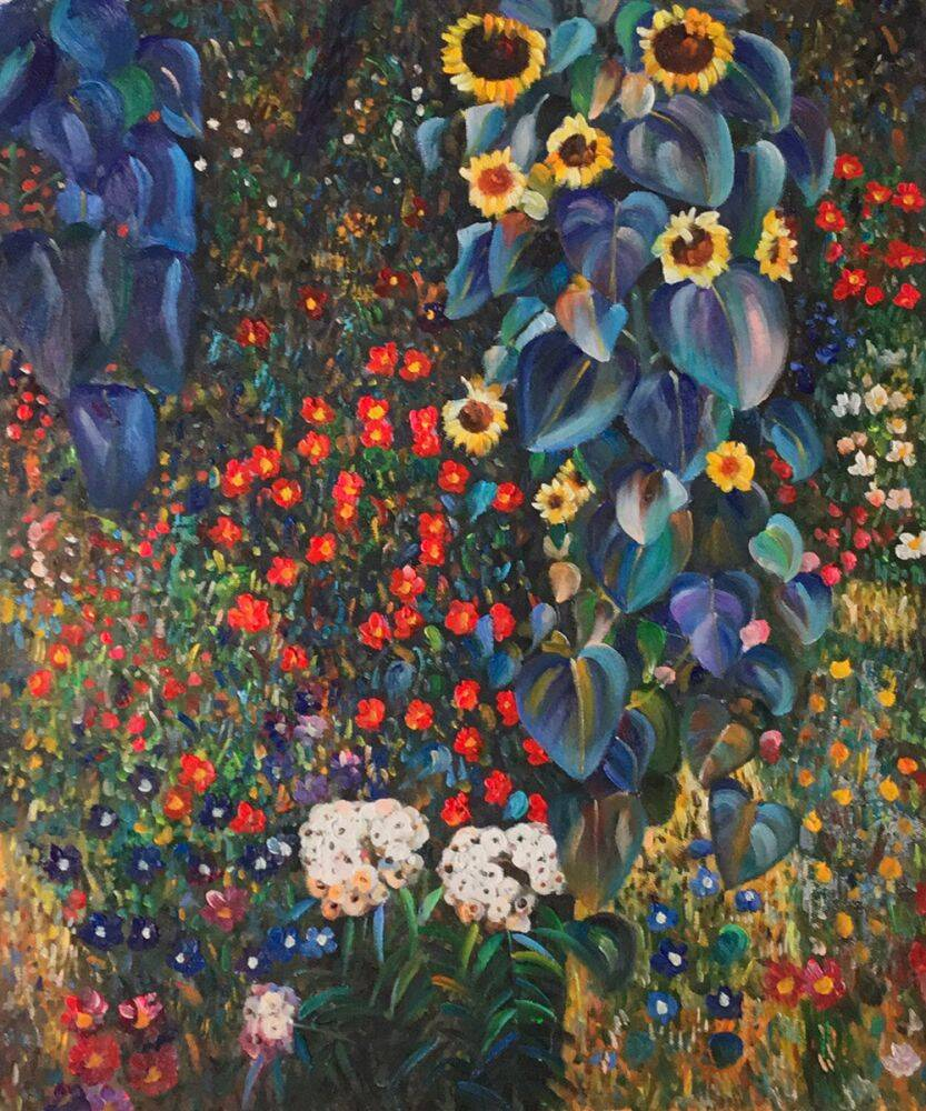 Farm Garden With Sunflowers Gustav Klimt