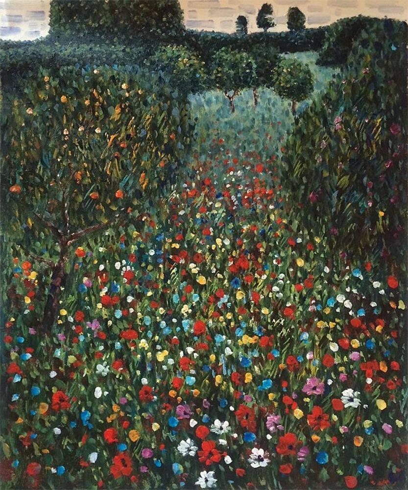 gustav klimt reproduction poppy field overcast