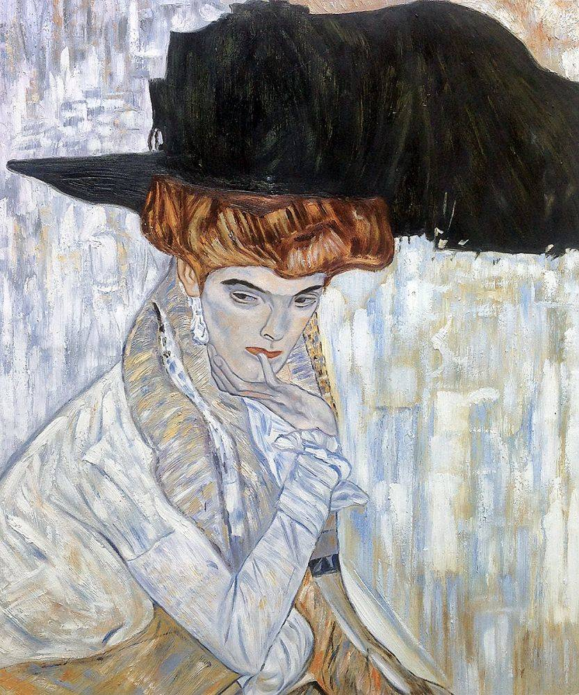 Klimt Reproduction Painting  Klimt Black Feather Hat 7cc107e77391