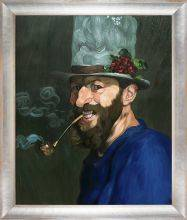 Self Portrait with a Pipe Pre-Framed