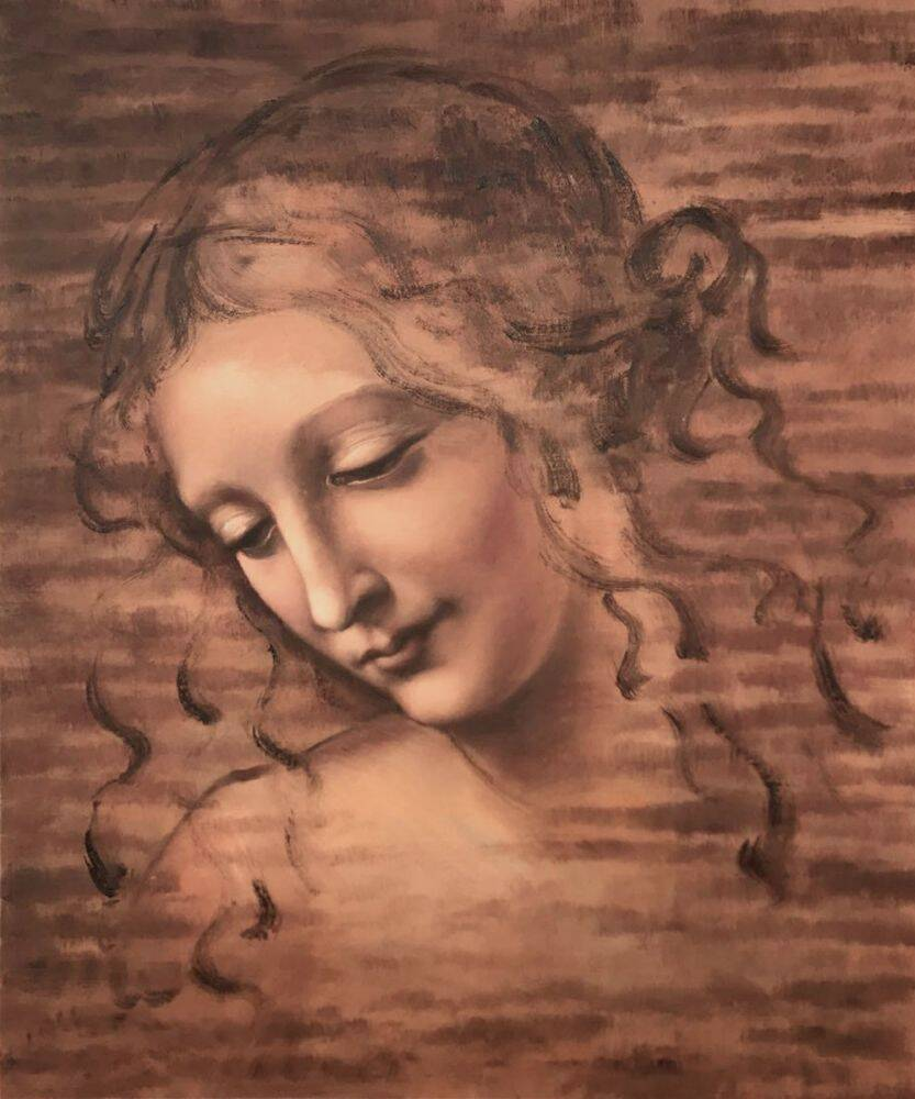 Da Vinci, Female Head (La Scapigliata) - Oil Painting
