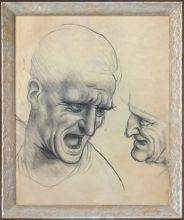 Study of Two Warriors' Heads for the Battle Anghiari Pre-Framed