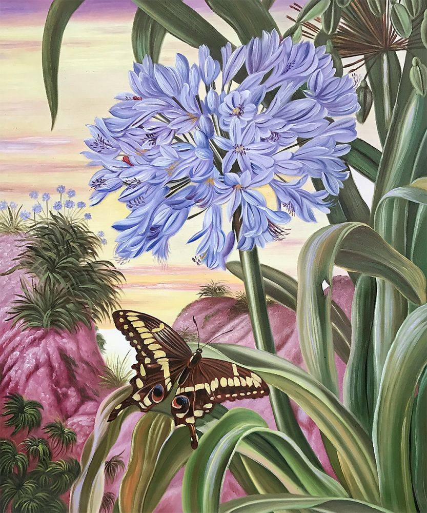 Blue Lily and Large Butterfly
