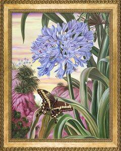 Blue Lily and Large Butterfly Pre-Framed