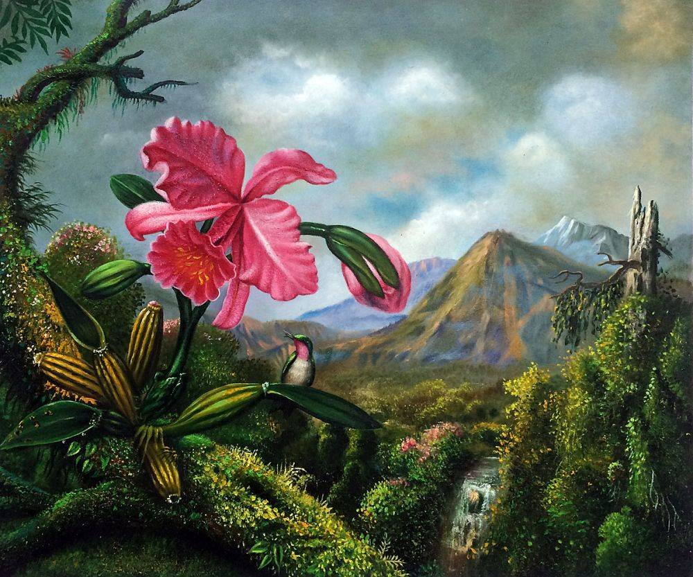 Orchid and Hummingbird Near a Mountain Waterfall, 1902