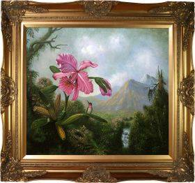 Orchid and Hummingbird Near a Mountain Waterfall, 1902 Pre-Framed