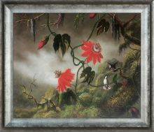 Passion Flowers with Hummingbirds, 1893 Pre-Framed