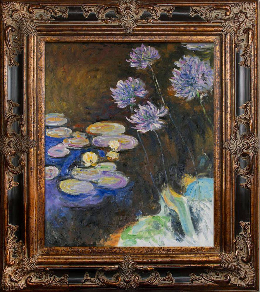 Water Lilies and Agapanthus Pre-Framed