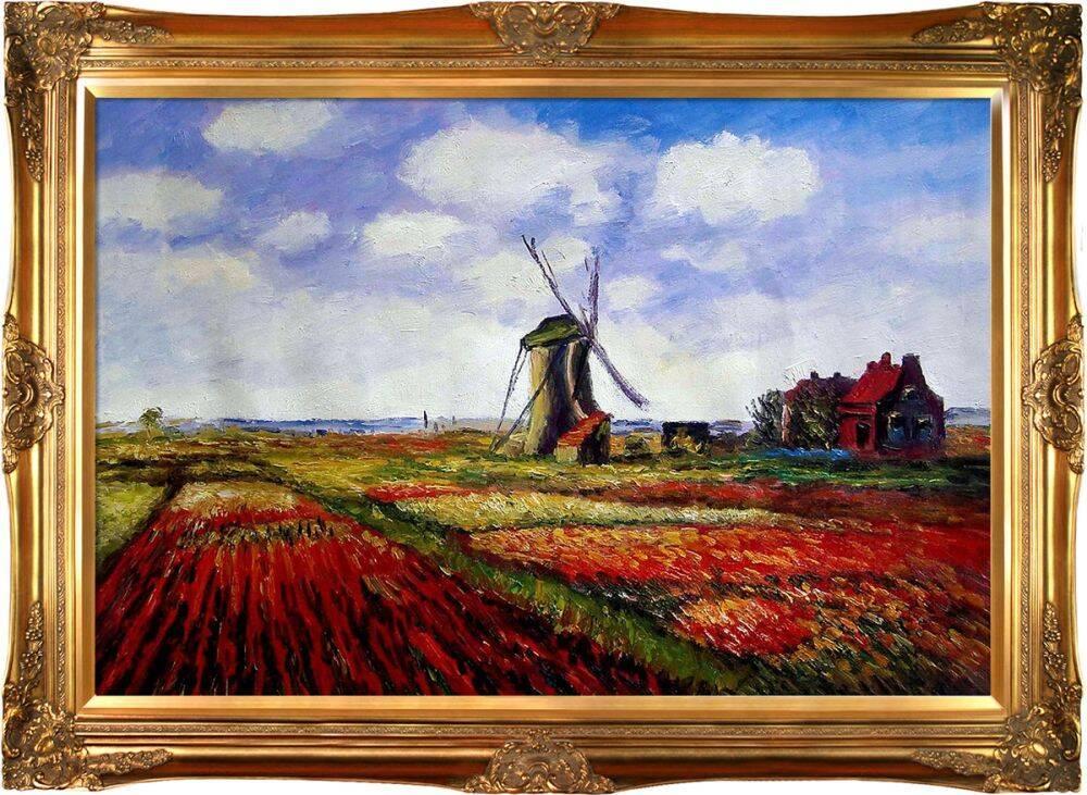 Tulip Field with the Rijnsburg Windmill Pre-Framed