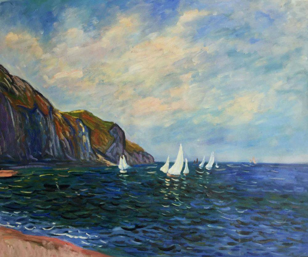 Claude Monet Cliffs And Sailboats At Pourville Hand