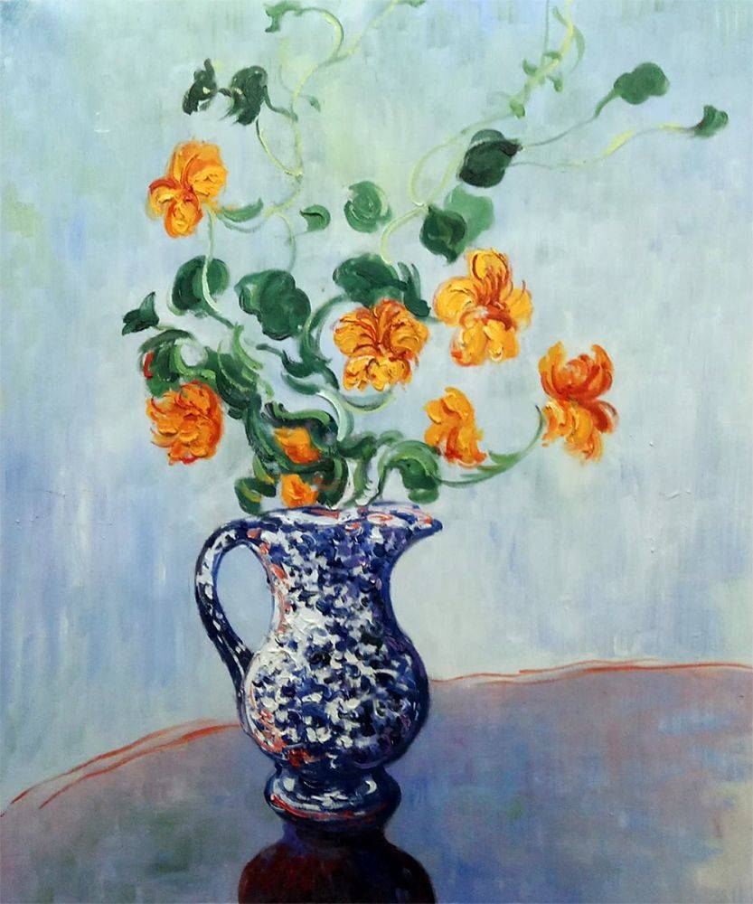 Nasturtiums in a Blue Vase