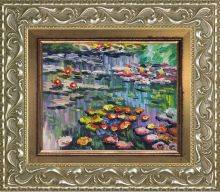 Water Lilies (pink) with Rococo Silver Pre-Framed