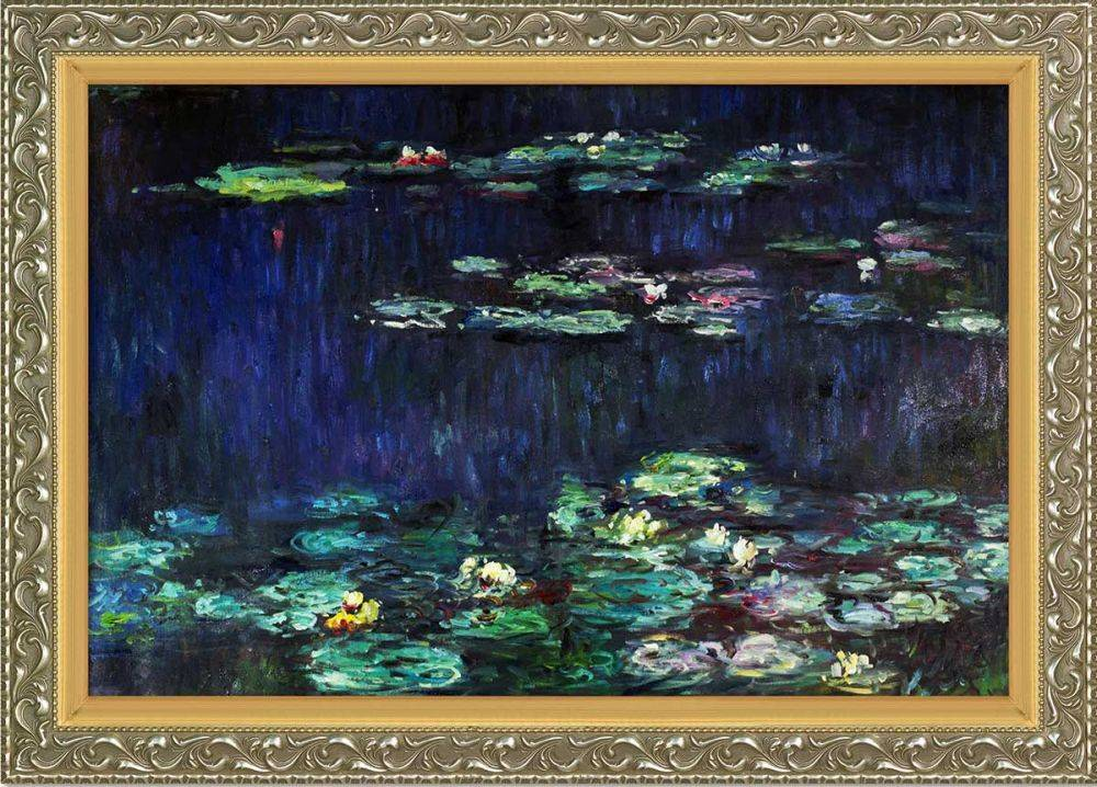 Water Lilies, Green Reflections (right half - detail) Pre-Framed