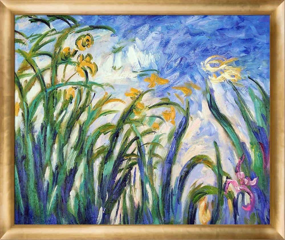 Yellow Irises and Malva Pre-Framed