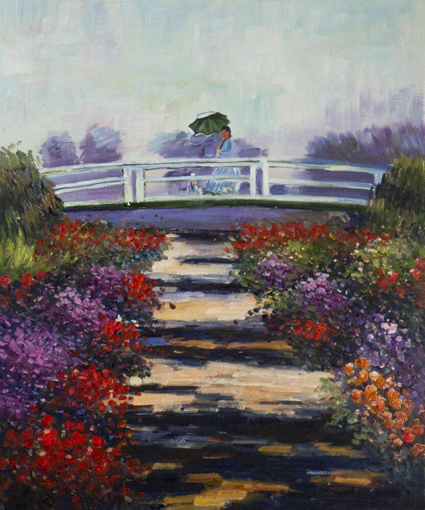 Madame Monet on the Bridge at Giverny