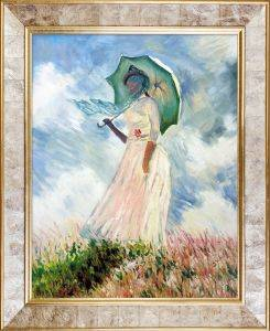 Woman with a Parasol (Facing Left) Pre-Framed