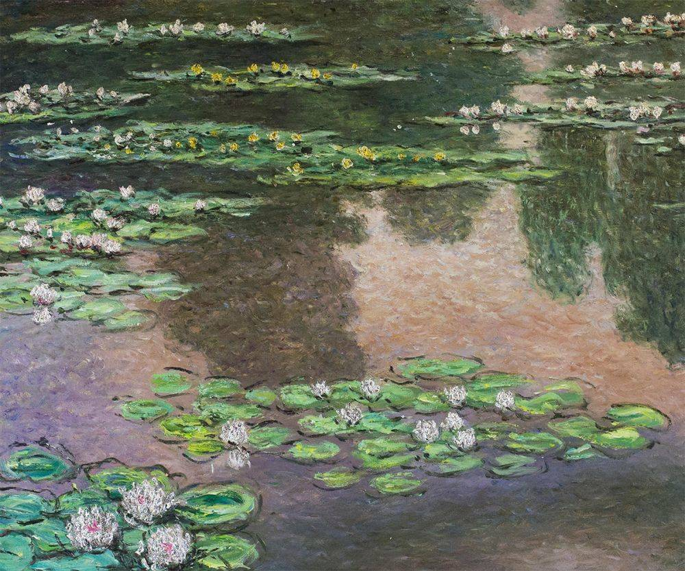Water Lilies, Green and Violet (Luxury Line)