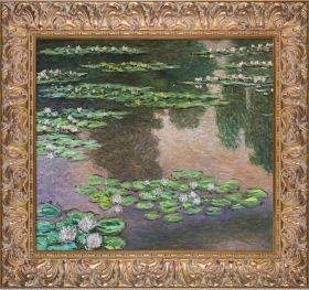 Water Lilies, Green and Violet (Luxury Line) Pre-Framed
