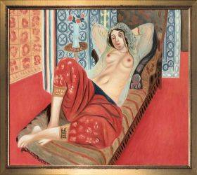 Odalisque with Red Pants Pre-Framed