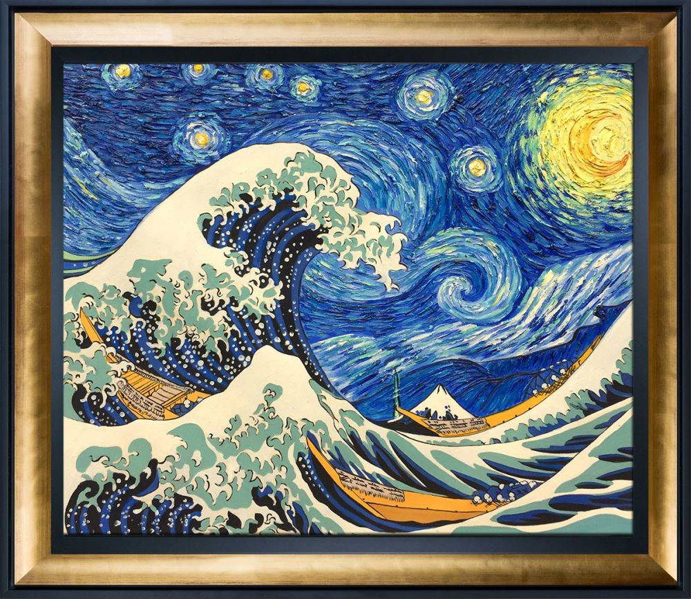Starry Night Wave Collage Pre-Framed