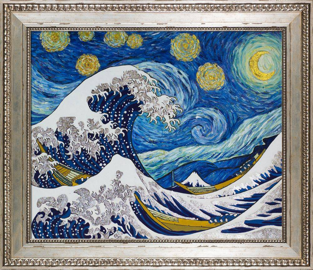Starry Night Wave Collage (Luxury Line) Pre-Framed