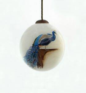 Peacock Hand Painted Glass Ornament