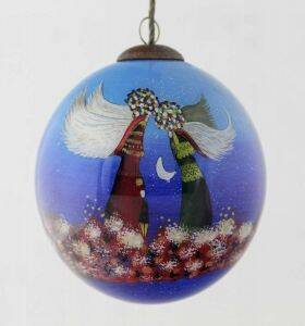 Angels Hand Painted Glass Ornament