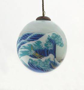 The Great Wave off Kanagawa Hand Painted Glass Ornament