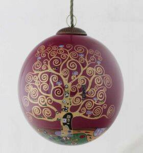 Tree of Life (Burgundy) Hand Painted Glass Ornament
