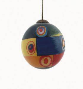 Farbstudie Quadrate Hand Painted Glass Ornament