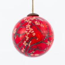 Branches of an Almond Tree in Blossom, Red Hand Painted Glass Ornament