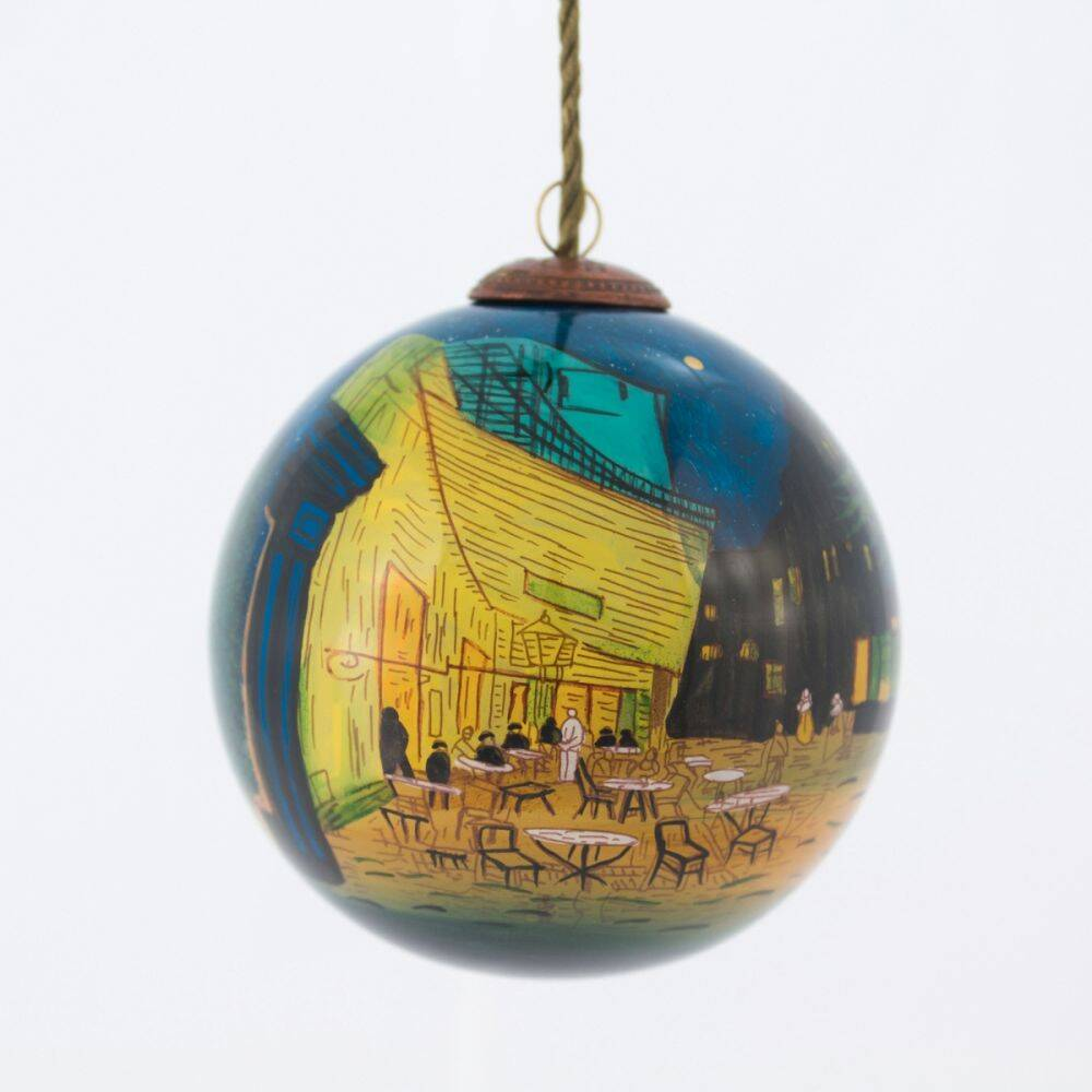 Cafe Terrace at Night Hand Painted Glass Ornament
