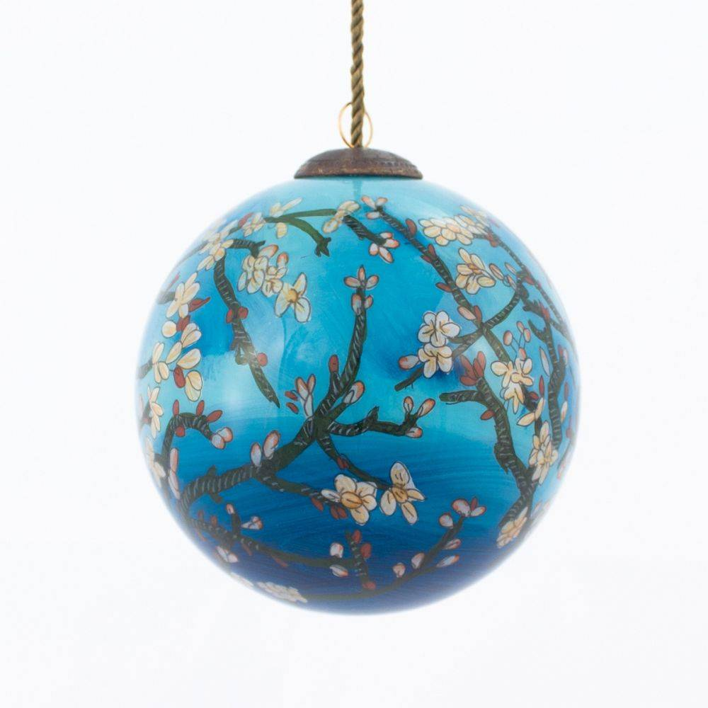 Branches of an Almond Tree in Blossom Hand Painted Glass Ornament