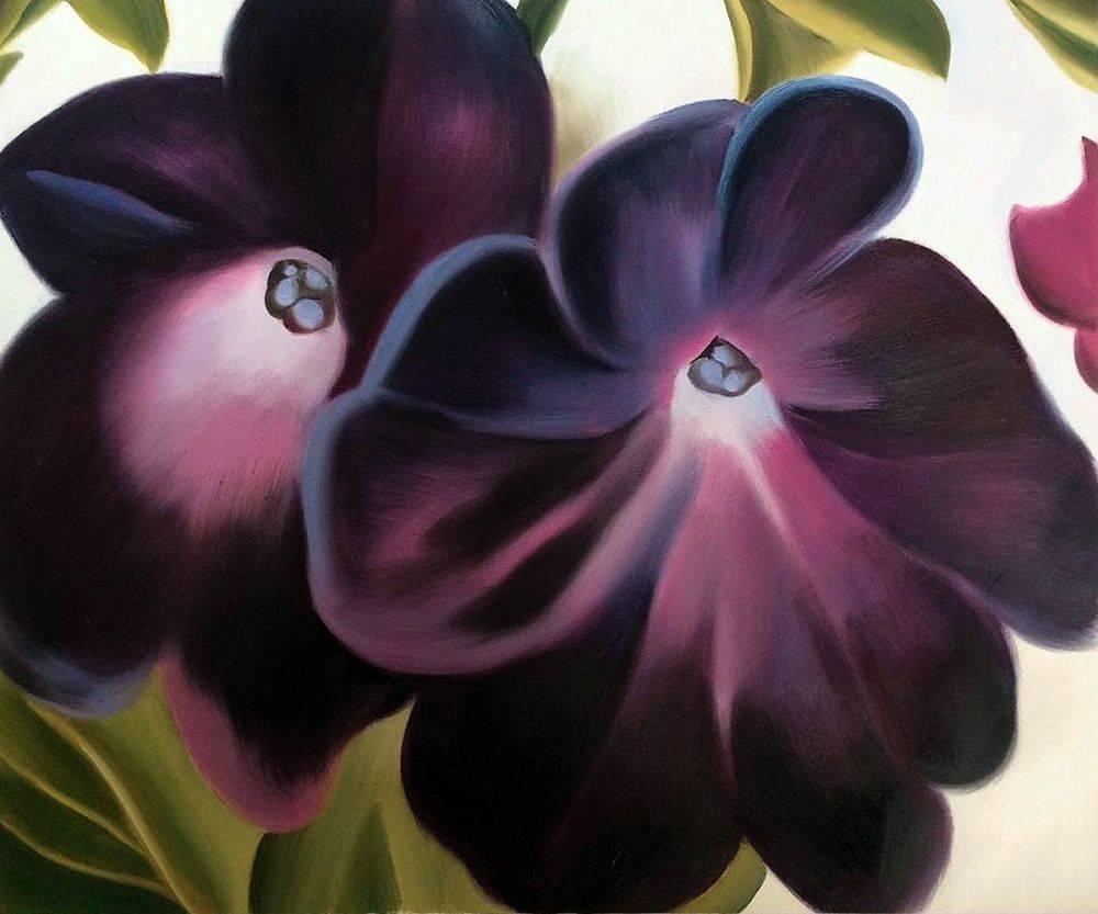 Black and Purple Petunias, 1924