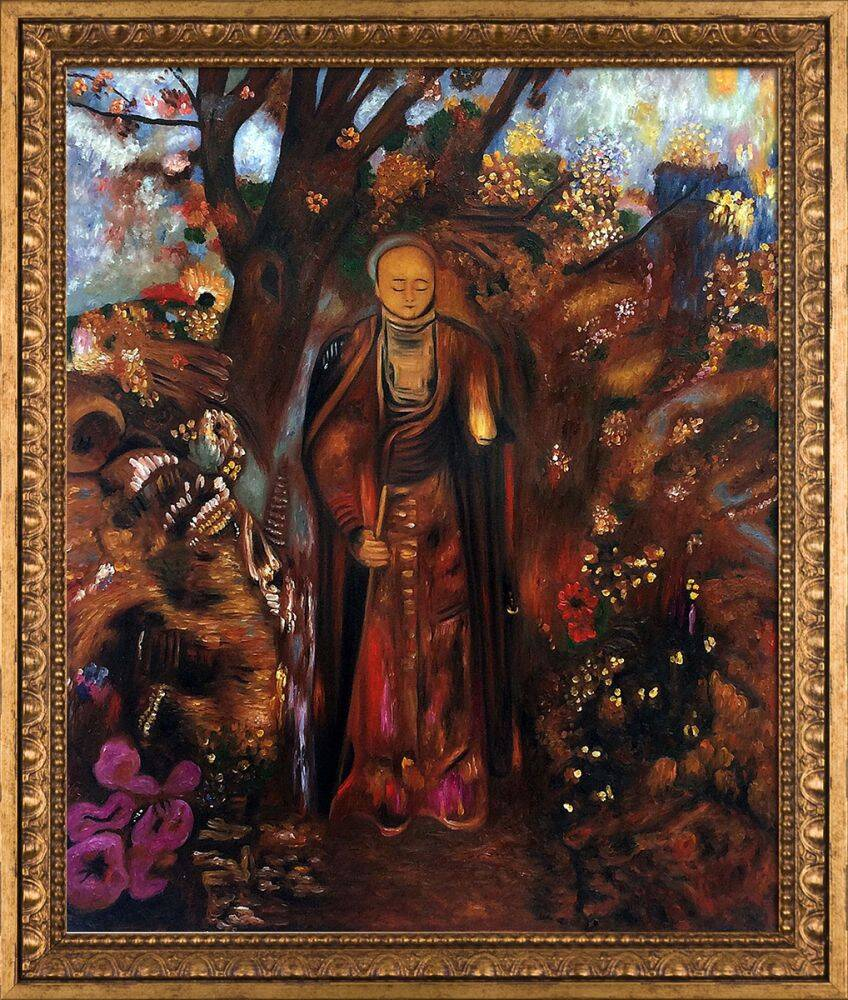 Buddha Walking Among The Flowers, 1905 Pre-Framed
