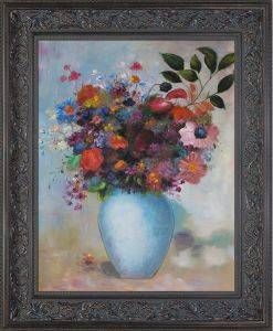 Flowers in a Turquoise Vase, 1912 Pre-Framed