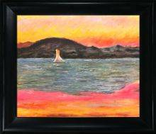 Sailboat at Sunset Preframed