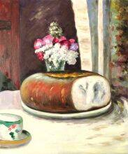 Table Corner, Cup of Coffee, Bread and Flowers (Table Corner)