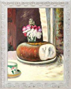 Table Corner, Cup of Coffee, Bread and Flowers (Table Corner) Preframed