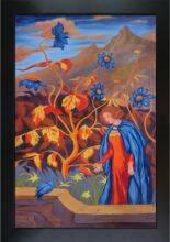 Woman and Blue Bird Pre-Framed