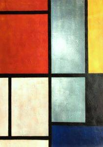 Tableau 3 with Orange -Red, Yellow, Black, Blue and Gray