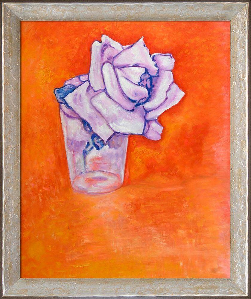 White Rose in a Glass Preframed