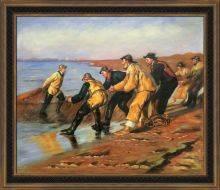 Fishermen Hauling Nets Pre-Framed