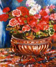 Geraniums in a Copper Basin