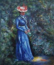 Woman in a Blue Dress, Standing in the Garden of St. Cloud