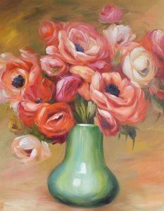 Anemones in a Green Vase